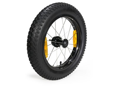 BURLEY 16+ Wheel Kit This wide knobby tire enables travel over snow, sand and gravel