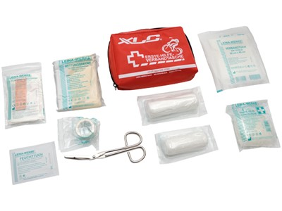 XLC FA-A01 DIN 13167, 1x roll of band aid, 1 x 14-pcs. band aid set, 1 x bandage pack, 1 x bandage wipe, 1 x emergency blanket, 1 x scissors, 4 vinyl gloves, 2 x wet wipes, 1 x first aid manual 15x50x100 mm Red