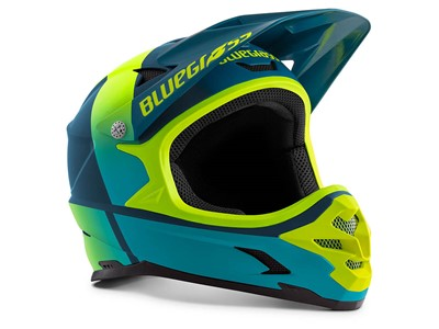 BLUEGRASS Helmet MTB - Full face Intox L (58-60 cm) Petrol Blue/Fluo Yellow
