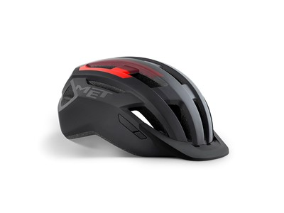 MET Helmet Active/Crossover Allroad S (52-56 cm) Black Red/Matt