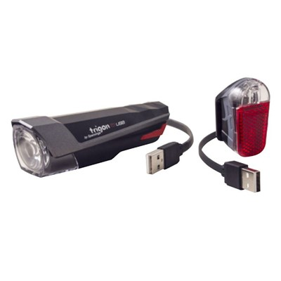 SPANNINGA Light set Trigon 15 + Pyro USB Black